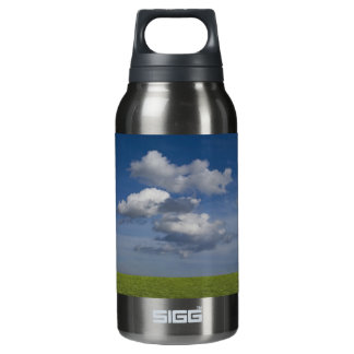 green filed, blue sky, white cloud insulated water bottle