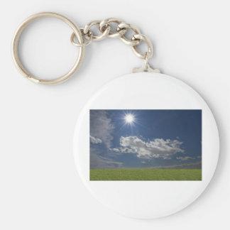 green filed, blue sky, white cloud keychain
