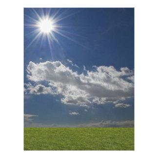 green filed, blue sky, white cloud letterhead