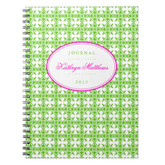 Green filigree pattern hot pink oval journal