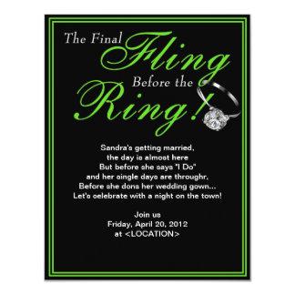 Green Final Fling Bachelorette Party Invitation