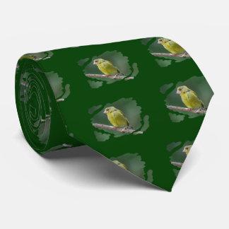 Green Finch - green finch - Verdier photo JL Neck Tie