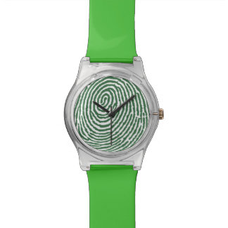 Green Fingerprint Patterns - RetroFlat Watches