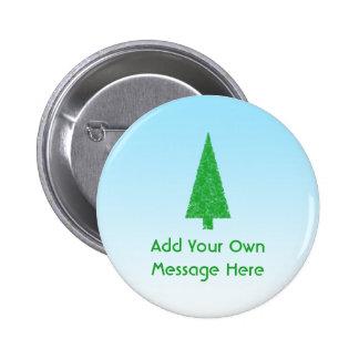 Green Fir Christmas Tree. Blue, White. Custom Text Pinback Button