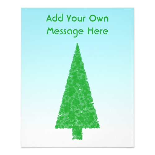 Green Fir Christmas Tree. Blue, White. Custom Text flyer