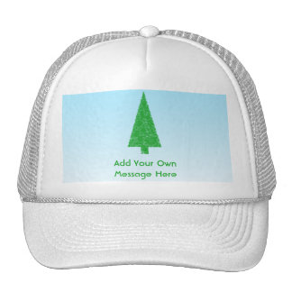 Green Fir Christmas Tree. Blue, White. Custom Text Hats