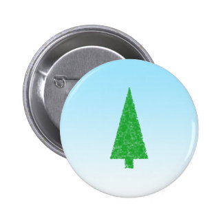 Green Fir Tree. On Blue - White. Christmas. Pinback Button