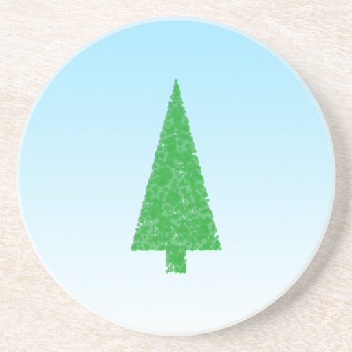 Green Fir Tree. On Blue - White. Christmas. Beverage Coasters