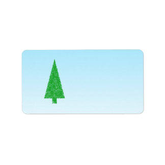 Green Fir Tree. On Blue - White. Christmas. Label