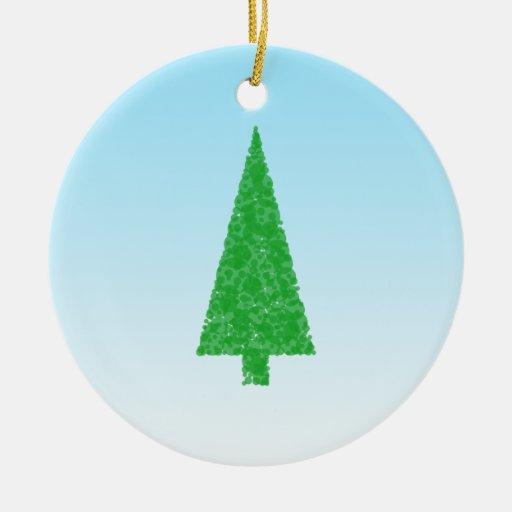 White Christmas Tree Blue Ornaments : Green fir tree on blue white christmas ornaments zazzle