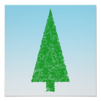 Green Fir Tree. On Blue - White. Christmas. Poster