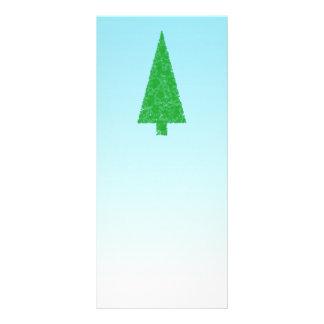 Green Fir Tree On Blue - White Christmas Customized Rack Card