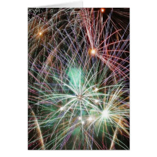 Green Fireworks At Night Card