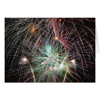 Green Fireworks At Night Greeting Cards