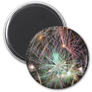 Green Fireworks At Night Magnets