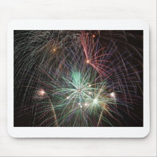 green-fireworks-at-night mouse pad