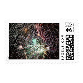Green Fireworks At Night Postage Stamp