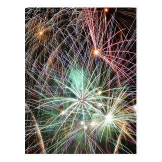 Green Fireworks At Night Postcards