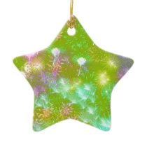 Green Fireworks Ceramic Ornament