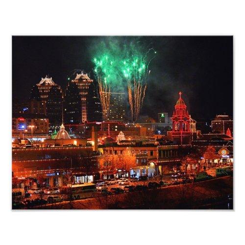 Green Fireworks Over the Kansas City Plaza Lights Photo Print