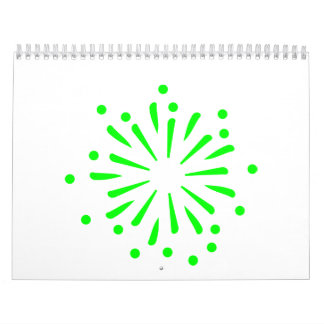 Green fireworks rocket wall calendars