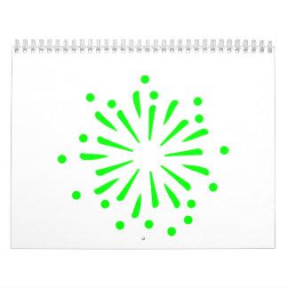 Green fireworks rocket calendar