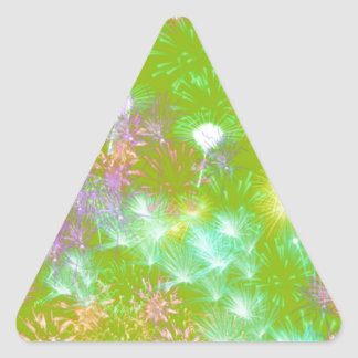 Green Fireworks Triangle Sticker