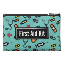 Green First Aid Kit Medicine Emergency Pattern Travel Accessory Bag