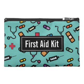 Green First Aid Kit Medicine Emergency Pattern Travel Accessory Bags