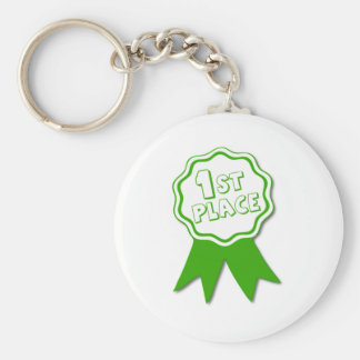 Green First Place Ribbon Basic Round Button Keychain