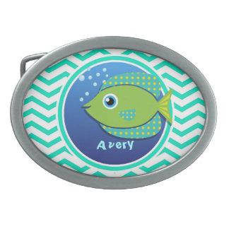 Green Fish; Aqua Green Chevron Oval Belt Buckle