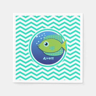 Green Fish; Aqua Green Chevron Paper Napkin