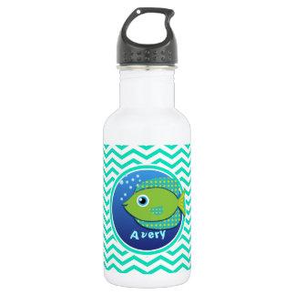 Green Fish; Aqua Green Chevron Stainless Steel Water Bottle