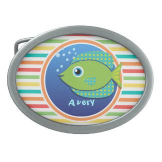 Green Fish; Bright Rainbow Stripes Belt Buckle