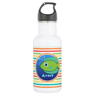 Green Fish; Bright Rainbow Stripes Water Bottle