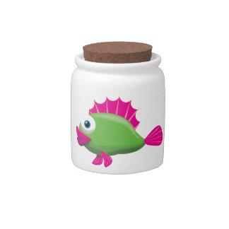 GREEN FISH CANDY JARS