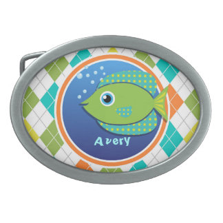 Green Fish on Colorful Argyle Pattern Belt Buckle