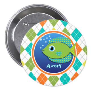Green Fish on Colorful Argyle Pattern Buttons