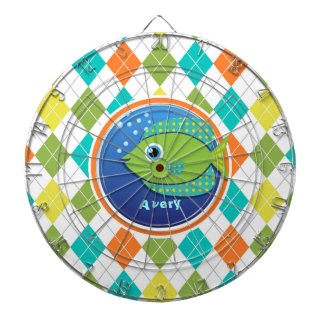 Green Fish on Colorful Argyle Pattern Dart Board