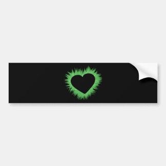Green Flame Heart Bumper Sticker