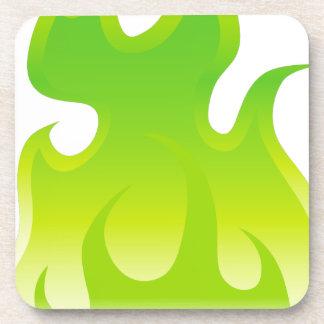 Green Flame Icon Coaster
