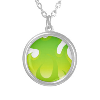 Green Flame Icon Silver Plated Necklace