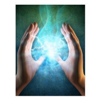 Green flame  powerful healing hands postcard