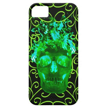 Green Flame Skull iPhone 5G Case