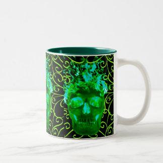 Green Flame Skull Mug
