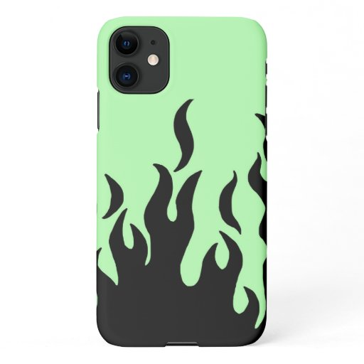 green flames iPhone 11 case