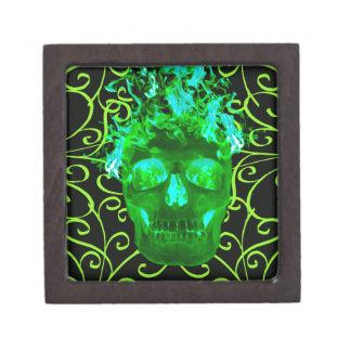 Green Flaming Skull Keepsake Box