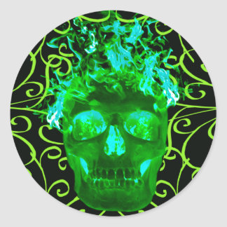Green Flaming Skull Stickers