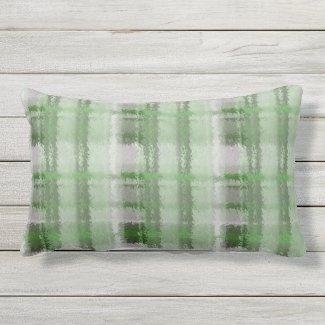 Green Flannel Shirt Plaid Outdoor Lumbar Pillow