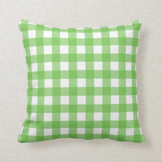 Green Flash & White Gingham Check Throw Pillow